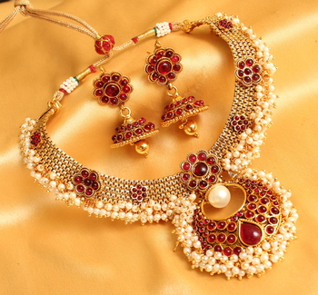 BEAUTIFUL PEARL CLUSTER BALI STYLE NECKLACE SET