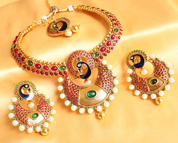 GORGEOUS PEACOCK BALI STYLE BRIDAL NECKLACE SET