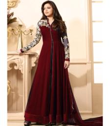 Buy Maroon embroidered georgette salwar with dupatta black-friday-deal-sale online