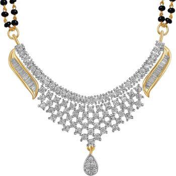 Silver american diamonds mangalsutra