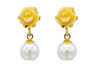 FLOWER CORAL DROP HANGINGS/TOPS/EARRINGS (WHITE PEARL) - PCE1023