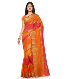 Orange plain cotton saree with blouse
