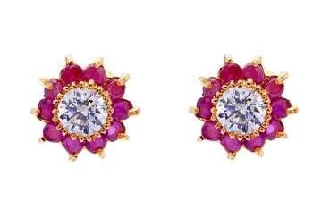 BEAUTIFUL DAILY WEAR STONE STUDDED SUN TOPS/EARRINGS/STUDS (AD RUBY) - PCE1037