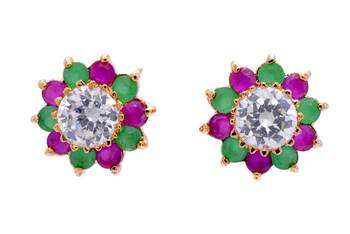 BEAUTIFUL DAILY WEAR STONE STUDDED SUN TOPS/EARRINGS/STUDS (AD RUBY EMRALD) - PCE1039