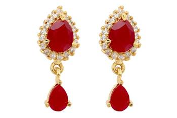 ELEGANT STONE STUDDED PAN DROP TOPS/HANGINGS/EARRINGS (AD RUBY) - PCE1049
