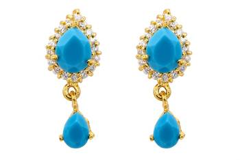 ELEGANT STONE STUDDED PAN DROP TOPS/HANGINGS/EARRINGS (AD TURQUOISE) - PCE1056