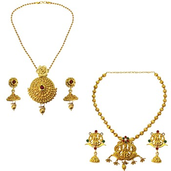 Beingwomen Wedding Collection Jewellery Multicolor Laxmi Coin  and  Antique Flower Design Necklace Combo