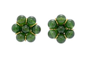 7 PEARLS FLOWER SHAPED TOPS/STUDS/EARRINGS FROM HYDERABAD (JADE) - PCE1068