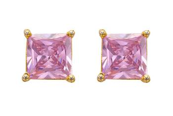 ELEGANT SINGLE STONE STUDDED SQUARE TOPS/STUDS/EARRINGS (PINK) - PCE1071