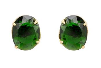 ELEGANT SINGLE STONE STUDDED OVAL TOPS/STUDS/EARRINGS (GREEN) - PCE1091
