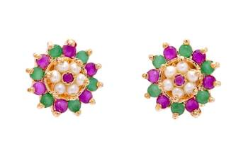 FABULOUS STONE STUDDED ROUND FLOWER TOPS/STUDS/EARRINGS (PEARL RUBY EMRALD) - PCE1095