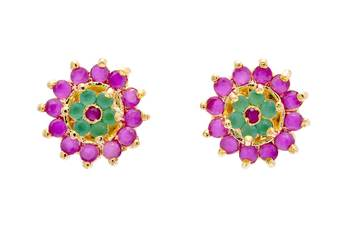 FABULOUS STONE STUDDED ROUND FLOWER TOPS/STUDS/EARRINGS (RUBY EMRALD) - PCE1097
