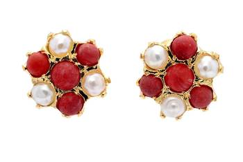 7 STONE STUDDED FLOWER SHAPED TOPS/STUDS/EARRINGS (PEARL CORAL) - PCE1108