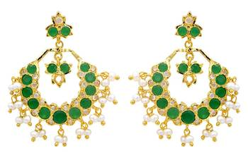 ROYAL STONE STUDDED REAL PEARL DROPS CHAAND BAALI/HANGINGS/EARRINGS (AD EMRALD) - PCE1110