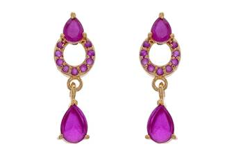 ELEGANT & BEAUTIFUL STONE STUDDED STUDS/HANGINHG/EARRINGS (RUBY) - PCE1111