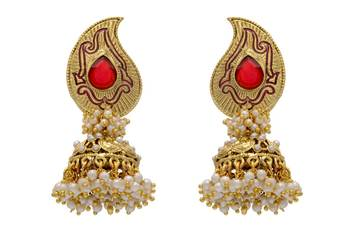ANTIQUE GOLDEN STONE STUDDED KAIRI SHAPED EARRINGS/HANGINGS (RED)  - PCAE2032