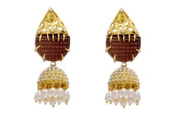ANTIQUE GOLDEN BIG STONE STUDDED ROYAL EARRINGS/HANGINGS (RED)  - PCAE2036