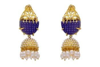 ANTIQUE GOLDEN BIG STONE STUDDED ROYAL EARRINGS/HANGINGS (BLUE)  - PCAE2038