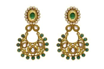 ANTIQUE GOLDEN STONE STUDDED EARRINGS/HANGINGS (GREEN)  - PCAE2043
