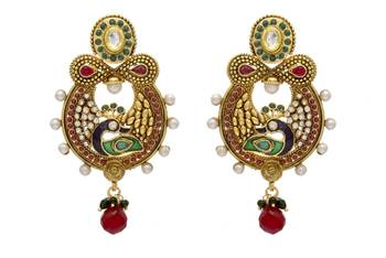 ANTIQUE GOLDEN STONE STUDDED PEACOCK MEENA EARRINGS/HANGINGS (RED GREEN)  - PCAE2057