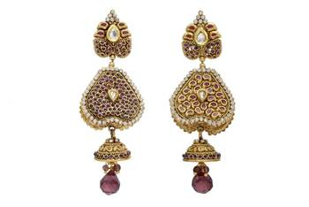 ANTIQUE GOLDEN STONE STUDDED REVERSABLE 2 WAY USE EARRINGS/HANGINGS (VIOLET)  - PCAE2071