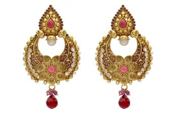 ANTIQUE GOLDEN STONE STUDDED FLOWER STYLE CHAAND BAALI EARRINGS/HANGINGS (RED)  - PCAE2072