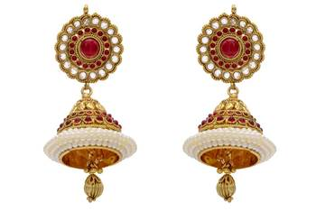 ANTIQUE GOLDEN TRADITIONAL STONE STUDDED EARRINGS/HANGINGS (POTA RED)  - PCAE2080