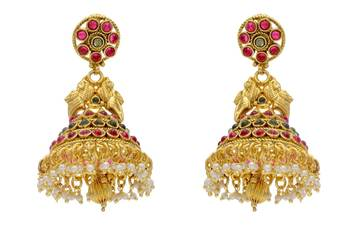 ANTIQUE GOLDEN TRADITIONAL STONE STUDDED EARRINGS/HANGINGS (POTA RED GREEN)  - PCAE2084