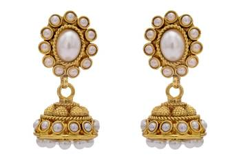 ANTIQUE GOLDEN TRADITIONAL STONE STUDDED JHUMKA EARRINGS/HANGINGS (PEARL)  - PCAE2195