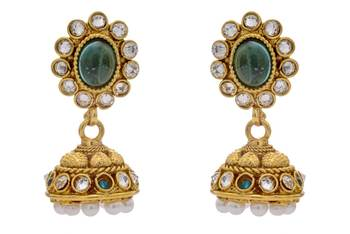 ANTIQUE GOLDEN TRADITIONAL STONE STUDDED JHUMKA EARRINGS/HANGINGS (RAMA GREEN)  - PCAE2196