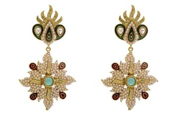 ANTIQUE GOLDEN STONE STUDDED POLKI PEARL WORK EARRINGS/HANGINGS (RED GREEN)  - PCAE2197