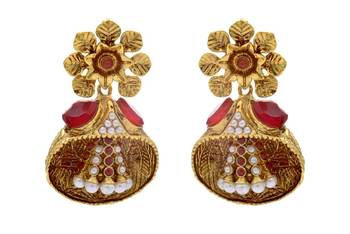 ANTIQUE GOLDEN STONE STUDDED FLOWER STYLE EARRINGS/HANGINGS (RED)  - PCAE2203