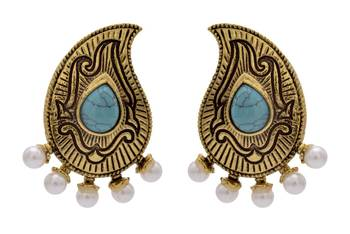ANTIQUE GOLDEN TRADITIONAL STONE STUDDED KAIRI SHAPED EARRINGS/HANGINGS (TURQUOISE)  - PCAE2211