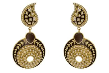 ANTIQUE GOLDEN STONE STUDDED KAIRI SHAPED ROUND EARRINGS/HANGINGS (BLACK)  - PCAE2243