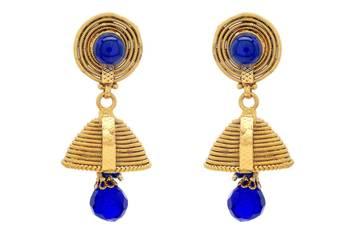 ANTIQUE GOLDEN TRADIONAL HANDMADE VENI JHUMKA/EARRINGS/HANGINGS (BLUE) - PCAE2280