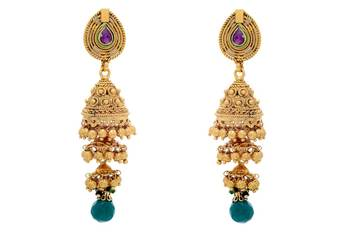 ANTIQUE GOLDEN TRADIONAL HANDMADE 3 STEP VENI JHUMKA/EARRINGS/HANGINGS (GREEN) - PCAE2289