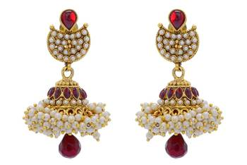 ANTIQUE GOLDEN STONE STUDDED TRADIONAL HAND CRAFTED EARRINGS/HANGINGS/JHUMKA(RED) - PCAE2311