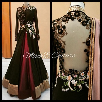 Black embroidered satin unstitched lehenga with dupatta