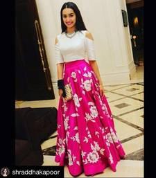 Buy Pink embroidered silk unstitched lehenga with dupatta bollywood-lehenga online