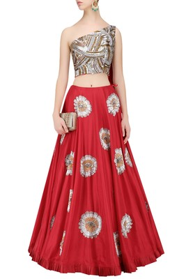 Pink embroidered santoon unstitched lehenga with dupatta