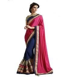 Buy Pink embroidered art silk saree with blouse art-silk-saree online