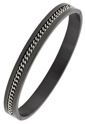 Designer curb silver black 316l surgical stainless steel openable free size kada bangle bracelet men