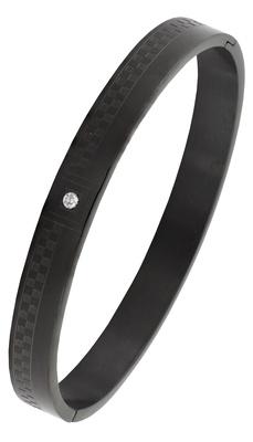 Formula 1 checks american diamond black stainless steel openable free size kada bangle bracelet men boy