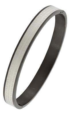 Italian designer black silver surgical stainless steel openable free size kada bangle bracelet men boy