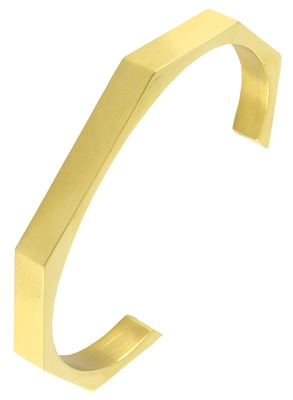 Handcuff 18k gold plated 316l surgical stainless steel cuff kada bangle bracelet for men