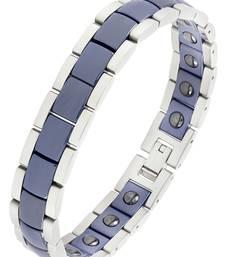 Navy blue ceramic silver plated 316l surgical stainless steel bracelet for boys men
