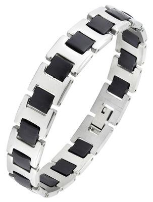 Black silver plated 316l surgical stainless steel bracelet for boys men
