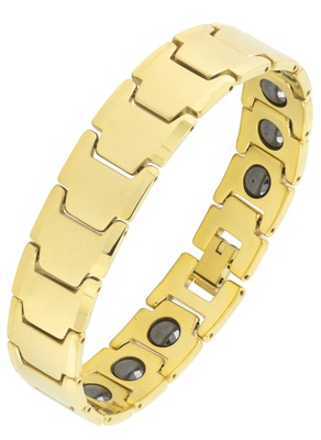 Glossy 18k gold plated 316l surgical stainless steel bracelet for boys men