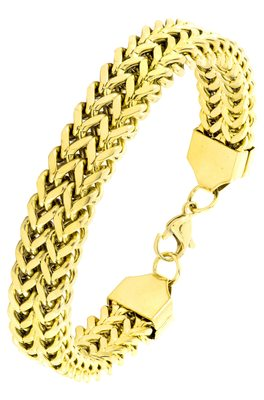 Wheat glossy 18k gold plated 316l surgical stainless steel bracelet for boys men