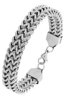 Wheat glossy silver plated 316l surgical stainless steel bracelet for boys men